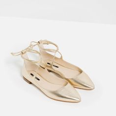 Image 3 of LAMINATED LACE-UP BALLERINAS from Zara