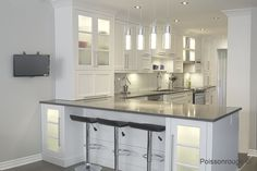 Modern White Kitchen Remodels For A Stunning Space Kitchen Armoire, Kitchen Cupboard Handles, Kitchen Dinning Room, Kitchen Lamps, Condo Kitchen, Home Decor Kitchen, Kitchen Remodel, Kitchen Design, Fixer Upper Kitchen