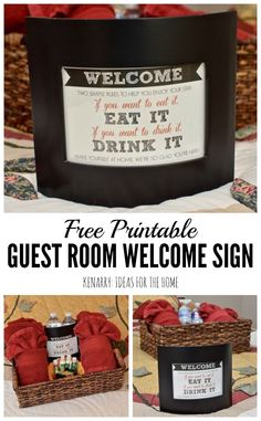 What a fun idea to create a gift basket to welcome overnight visitors who stay in a bedroom at your house! Use this free printable guest room art to make them feel at home.