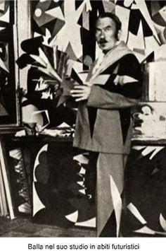 Giacomo Balla in a futurist suit
