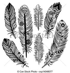 Vector - Set of ethnic feathers - stock illustration, royalty free illustrations, stock clip art icon, stock clipart icons, logo, line art, EPS picture, pictures, graphic, graphics, drawing, drawings, vector image, artwork, EPS vector art