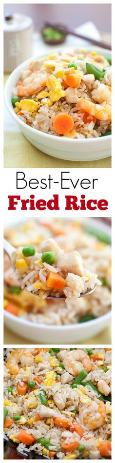 Fried Rice - best-ever & easiest fried rice recipe with eggs, chicken, shrimp and tastes MUCH better than Chinese takeout   rasamalaysia.com   #rice