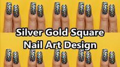 Silver Gold Square Nail Art Design