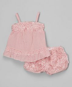 Look at this Red Polka Dot Babydoll Top & Bloomers - Infant on #zulily today!