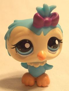 Littlest Pet Shop - BLUE & CREAM OWL W/ PURPLE BOW #1569 - Blue Eyes - Bird -LPS