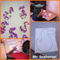 Mr. Seahorse tissue paper mosaic!