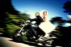 Motorcycle get away for wedding
