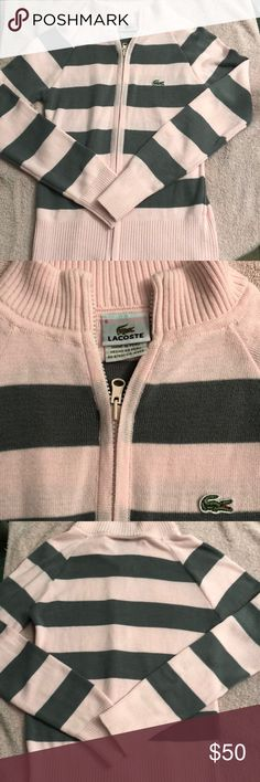 Lacoste Pink & Grey Zip Down Sweater Gently used pink & grey stripped Lacoste Kids Sweater. In great condition. Just in time for the Winter season. Lacoste Sweaters Cardigans