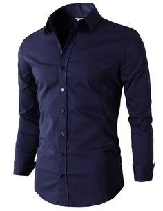 Mens Basic Dress Shirts Slim Fit Long Sleeve Various Color (KMTSTL059) #doublju