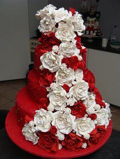 Red and White Rose Wedding Cake - Red Velvet cake with cascading roses