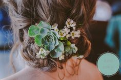 More messy braid with succulents for a country downstate wedding.