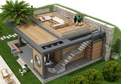 Village House Design, Bungalow House Design, Tiny House Design, Cool House Designs, Modern House Design, Duplex Design, Small House Exteriors, Dream House Exterior, Container House Plans