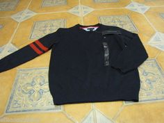 Boys 5 kids youth swim navy Tommy Hilfiger sweater long sleeve shirt stripe arm