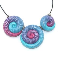 Elegant big gradient spiral beads, polymer Clay beads with unique stripes in…