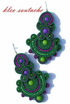 Purple and green soutache Soutache Necklace, Beaded Earrings, Beaded Jewelry, Crochet Earrings, Funky Jewelry, Bohemian Jewelry, Handmade Jewelry Designs, Beads And Wire, Loom Beading