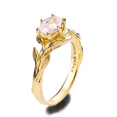 Leaves Engagement Ring 4, 18K Yellow Gold Moissanite engagement ring, oval engagement ring, leaf ring, game of thrones, Moissanite Ring