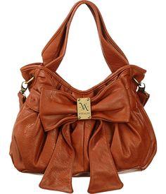 Purse Boutique: Burnt Orange Vitalio Vera Large ''Carolina'' Bow Crossbody Hobo, Purses