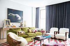 Browse stylish living room decor inspiration, furniture and accessories on Domino. See our favorite living rooms for the best couches, coffee tables, throw pillows and paint colors to decorate your living room. Living Room Carpet, Cozy Living Rooms, Living Room Colors, My Living Room, Home And Living, Living Room Designs, Living Room Decor, Living Spaces, Deco Cool