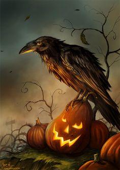 Halloween Raven by jerry8448.deviantart.com on @deviantART