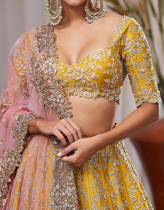 Heavy zardozi and sequence embroidery lehenga wedding lehenga designer lehenga Indian wedding lehenga Hindu wedding Indian Wedding Lehenga, Indian Lehenga, Bridal Lehenga Choli, Red Lehenga, Yellow Lehenga, Anarkali, Bollywood Lehenga, Pakistani Bridal, Bollywood Fashion