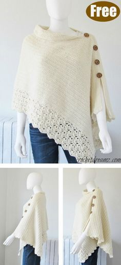 knit crochet This Knit Look Crochet Poncho Free Pattern uses simple stitches to create crochet that looks like knitting. It will keep you warm and stylish. Blog Crochet, Poncho Au Crochet, Crochet Poncho Patterns, Crochet Scarves, Crochet Crafts, Knitting Patterns Free, Crochet Clothes, Free Knitting, Free Crochet