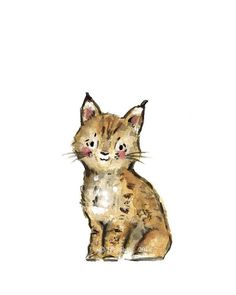 Nursery Art LYNX Archival Print by trafalgarssquare on Etsy