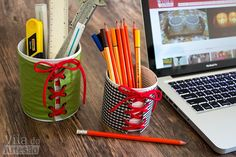Tutorial Vila do Artesão - Reciclagem de latas para o home office