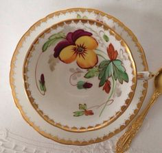 Hand Painted Tuscan China Tea Cup & Saucer c.1950s