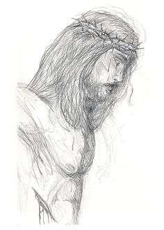 pencil+drawings+of+jesus++at+the+cross | christian art gallery example - Jesus on the Cross - Drawing Christian