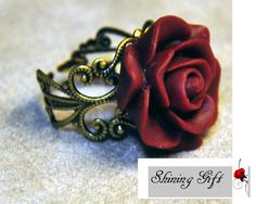 Vintage Inspired Blooming Rose Flower Resin Ring by Shininggift