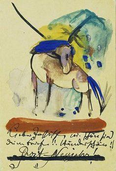 Horse. In 1913. On postcard to Else Lasker-Schüler. Franz Marc