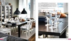 ikea table, black  white chairs