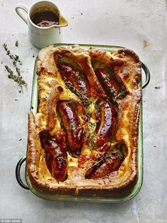 The day before you are planning to make your Toad In The Hole make your Yorkshire batter in advance, so it has a chance to rest. In a bowl whisk the eggs and milk together, then whisk this into the flour. If you have a few lumps, that's OK as they will break down overnight. Place in the fridge.