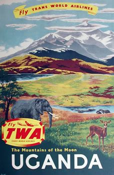 Vintage TWA Travel Poster: The Mountains of the Moon, Uganda