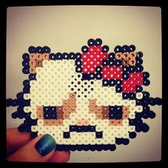 Grumpy Cat Hello Kitty perler beads by lauprofile