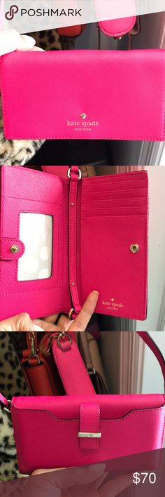 Kate spade iPhone 7 wallet purse I have worn this once so still in great condition!!!! It also fits my iPhone 7 perfectly. Really love this small wallet bag because it's so convenient but I don't use it as much as I should. When worn as a cross body it sits right on my hip and I'm 5'1. No trades! kate spade Bags Mini Bags