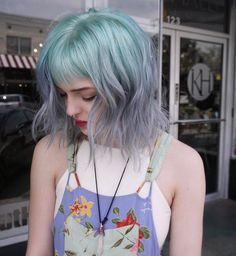 grunge mint grey coloring hair