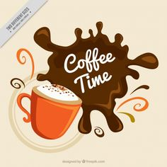 Background of mug with coffee stain Free Vector