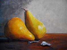 Two Pears original artwork on canvas panel 8 X 10 inches by MARVINSTUDIO on Etsy Original Paintings For Sale, Original Artwork, Pears, Etsy Shop, Unique Jewelry, Handmade Gifts, The Originals, Canvas, Vintage