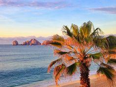 Sunset views from Medano Beach and Villa La Estancia in Cabo San Lucas, Mexico.