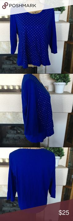 🆕 Listing Chico's Sparkle Top Gorgeous top! It's Royal Blue in color and the front is completely covered in sparkling crystals! 3/4 length sleeves. This is a Chico's size 3 designed to fit size 16/18. See the size chart at the top of my closet. This is in excellent condition! Every item I sell is from my personal closet or from family members closets! Chico's Tops