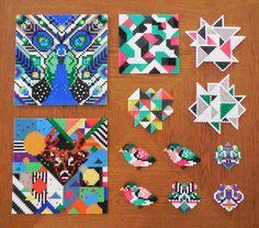 Her er en samling af de forskellige perleplader jeg har lavet i grafisk stil, med trekanter og grafiske mønstre.