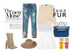 """#N°1"" by galacticgirl ❤ liked on Polyvore featuring adidas, MANGO, Armani Jeans, BLANKNYC, CÉLINE, Nili Lotan, Yves Saint Laurent, StreetStyle, denim and fauxfur"