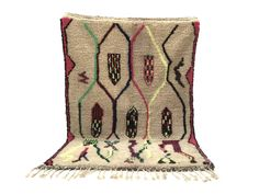 4x6 Moroccan carpets berber, Beni ourain rug, Colorful Azilal Soft wool rug AUTHENTIC AZILAL CARPET