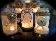 These are ridiculously cute mason jars. Use them for centerpieces. We love the lace and burlap combo!
