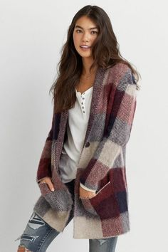 American Eagle Outfitters AEO Oversized Plaid Blazer