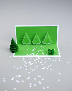 クリスマスピクセルポップアップカード