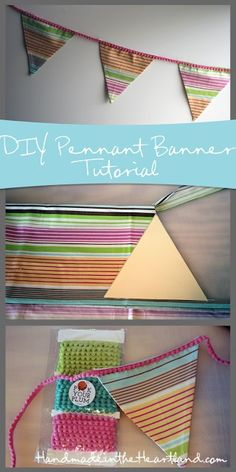 DIY Easy Sew Pennant Banner, make a pennant banner for your living room, your child's room or just for a party.  They are fun and simple and so great to have around to pull out at certain times of the year.  #handmade #craft #sewing