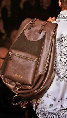Versace puts a new modern look on their latest backpack for the Winter 2015…