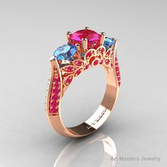 Classic 14K Rose Gold Three Stone Blue Topaz Pink by artmasters, $1249.00